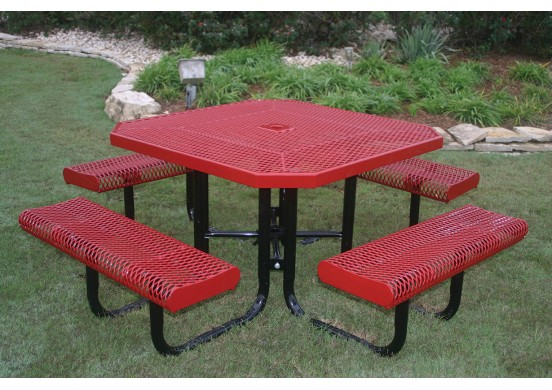 Octagon Rolled Edge Portable Picnic Table with Diamond Pattern