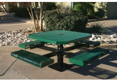 Octagon Rolled Edge Single Pedestal Picnic Table with Diamond Pattern
