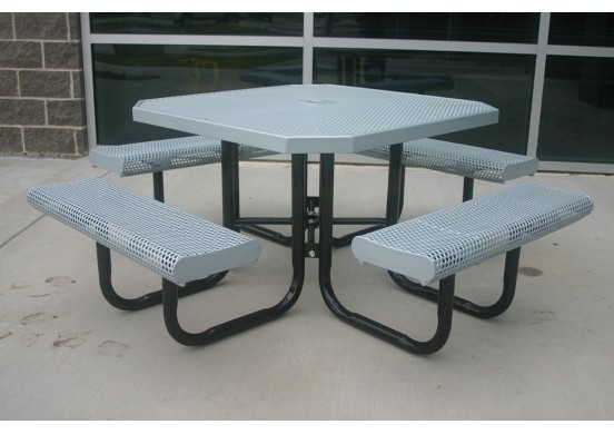 Octagon Rolled Edge Portable Picnic Table with Perforated Steel
