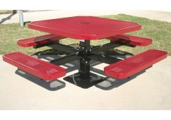Octagon Single Pedestal Picnic Table with Diamond Pattern