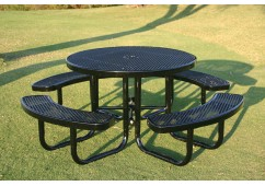 Round Portable Picnic Table with Diamond Pattern
