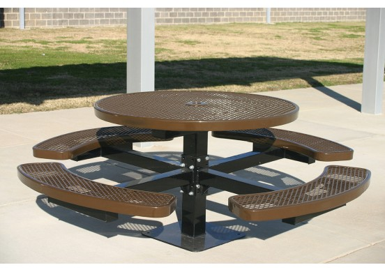 Round Single Pedestal Picnic Table with Diamond Pattern