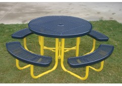 Round Portable Picnic Table with Perforated Steel