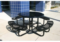 Solid Top Round Portable Picnic Table with Diamond Pattern