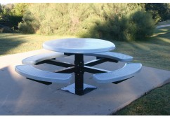 Solid Top Round Single Pedestal Picnic Table with Diamond Pattern