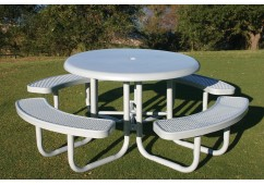 Solid Top Round Portable Picnic Table with Perforaterd Steel