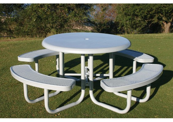 Solid Top Round Portable Picnic Table with Perforated Steel