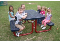 Rectangular Portable Picnic Table with Diamond Pattern