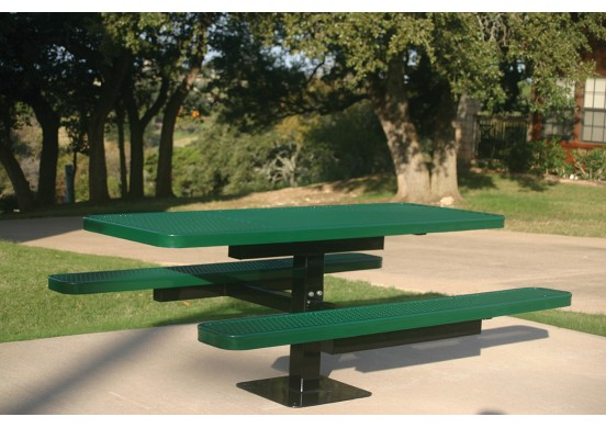 Rectangular Single Pedestal Picnic Table with Diamond Pattern