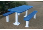 Rectangular Independent Pedestal Picnic Table with Diamond Pattern