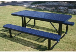 Rectangular Portable Picnic Table with Perforated Steel