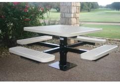 Square Single Pedestal Picnic Table with Diamond Pattern