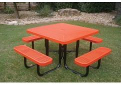 Square Portable Picnic Table with Perforated Steel