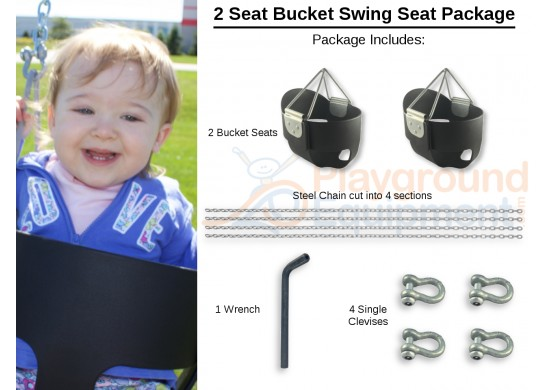 2 Seat Elite High Back Bucket Package with Seats, Chain, Clevis Connectors, Tool