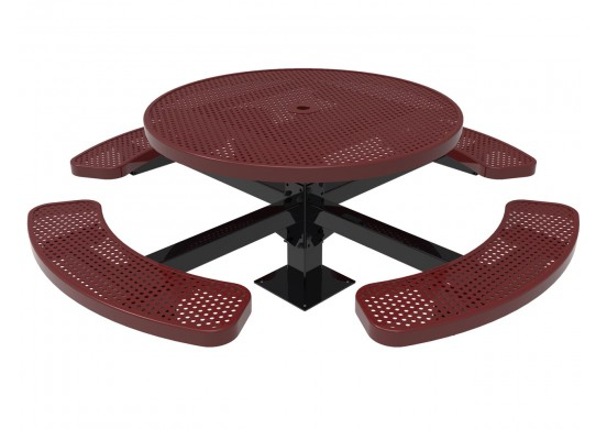 Round Single Pedestal Picnic Table with Perforated Steel