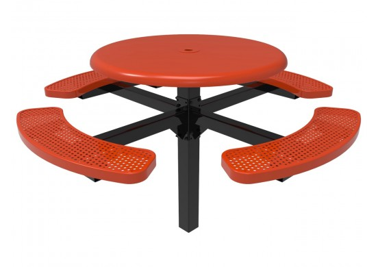Solid Top Round Single Pedestal Picnic Table with Perforated Steel