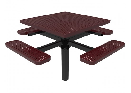 Square Single Pedestal Picnic Table with Perforated Steel