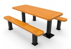 Rectangular Independent Pedestal Picnic Table with Perforated Steel
