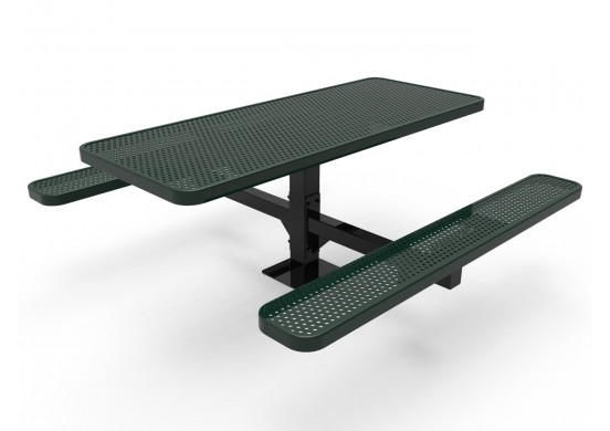 Rectangular Single Pedestal Picnic Table with Perforated Steel