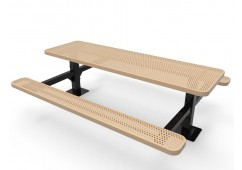 Rectangular Double Pedestal Picnic Table with Perforated Steel