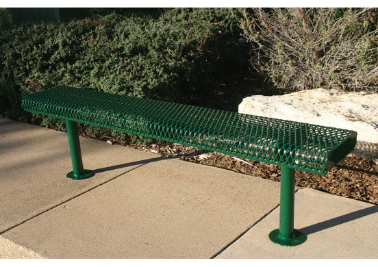 Diamond Pattern Rolled Edge Bench without Back