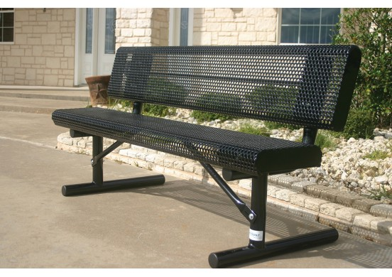 Perforated Steel Rolled Edge Bench with Back