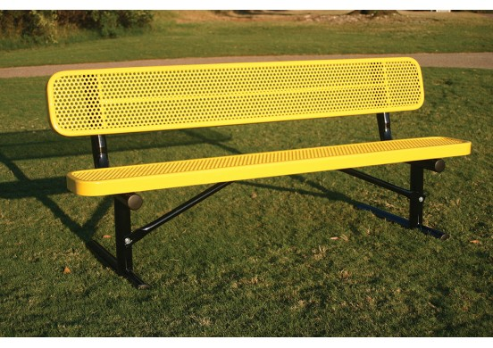 Perforated Steel Traditional Rectangular Bench with Back