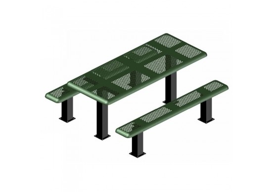 Perforated Pedestal Frame Rectangle Picnic Table