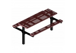 Perforated Double Pedestal Frame Rectangle Picnic Table