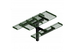 Rolled Single Pedestal Frame Rectangle Picnic Table
