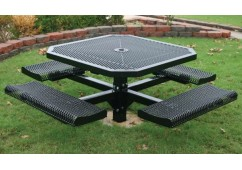 Rolled Single Pedestal Frame Octagon Picnic Table