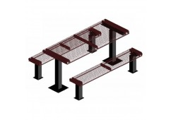 Rolled Pedestal Frame Rectangle Picnic Table