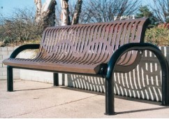 Modern Ribbed Steel Bench