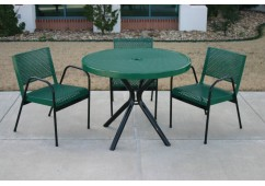 Canteen Perforated Modern Frame Circle Picnic Table