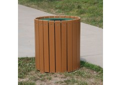 Round Style Recycled Plastic Trash Receptacle