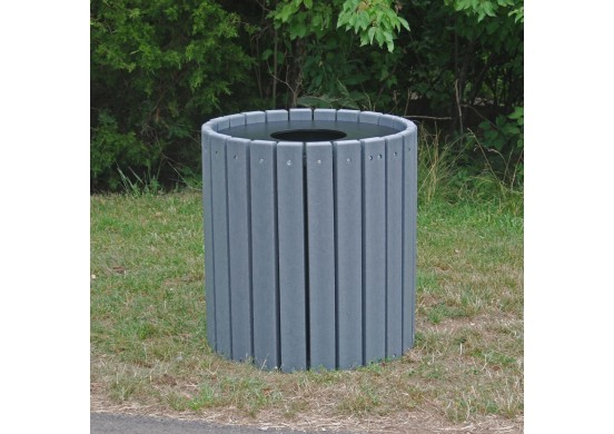 Heavy-Duty Round Style Recycled Plastic Trash Receptacle
