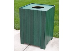 Square Style Recycled Plastic Trash Receptacle