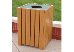 Heavy-Duty Square Style Recycled Plastic Trash Receptacle