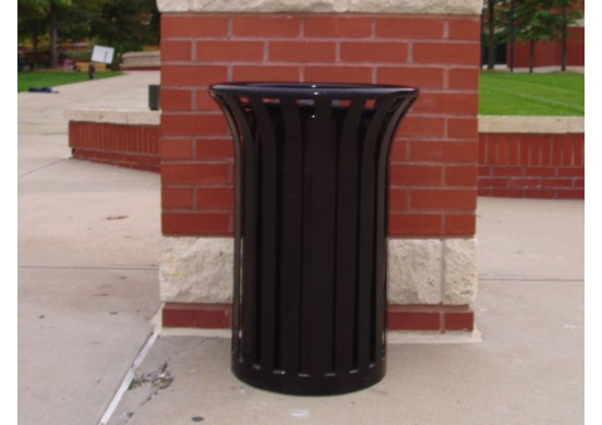 Providence Ribbed Steel Trash Receptacle