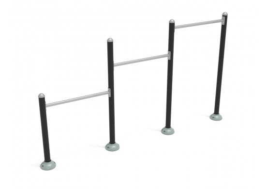 Triple Station Inclined Chin-Up Bars