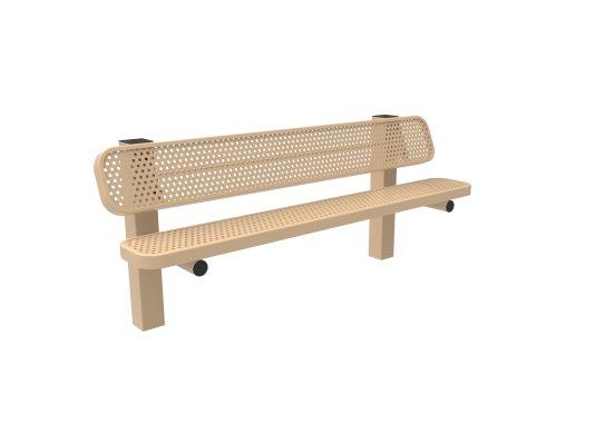 Perforated Steel Single Pedestal Bench