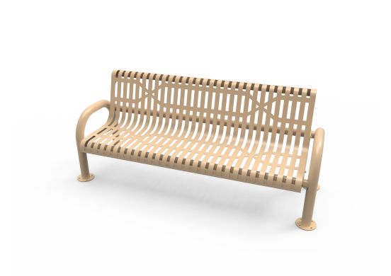 Slatted Steel MOD Bench with Back
