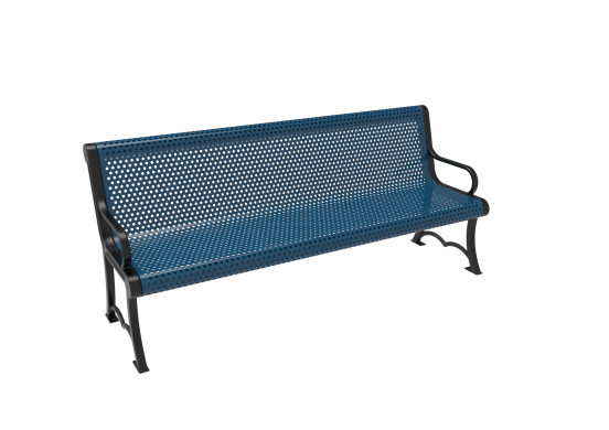 Perforated Steel Austin Bench with Arms