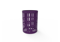 32 Gallon Downtown Trash Receptacle with Slatted Steel