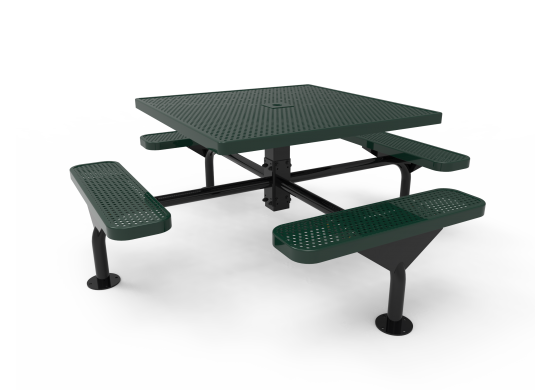 Square Nexus Pedestal Table with Perforated Steel