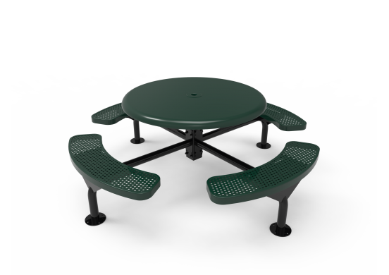 Solid Top Round Nexus Pedestal Table with Perforated Steel