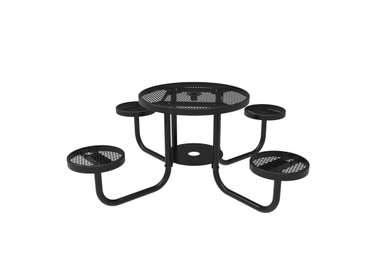 Diamond Pattern Round Patio Table with Attached Seats