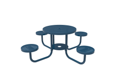 Perforated Steel Round Patio Table with Attached Seats