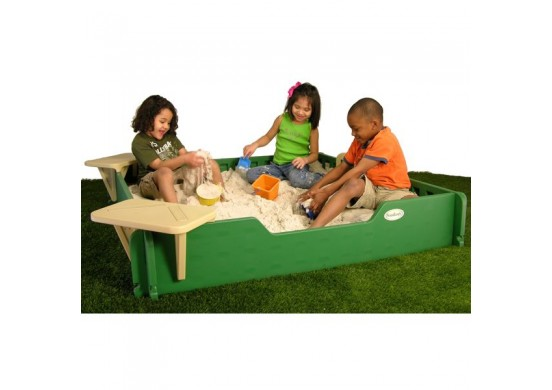 5 feet x 5 feet Sandbox, Cover, & Seats