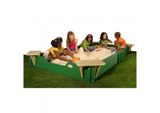 5 feet x 10 feet Sandbox, Cover, & Seats